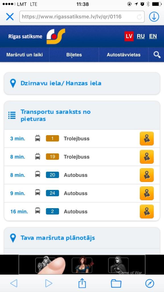 Rīgas Satiksmes pieturas transporta saraksts